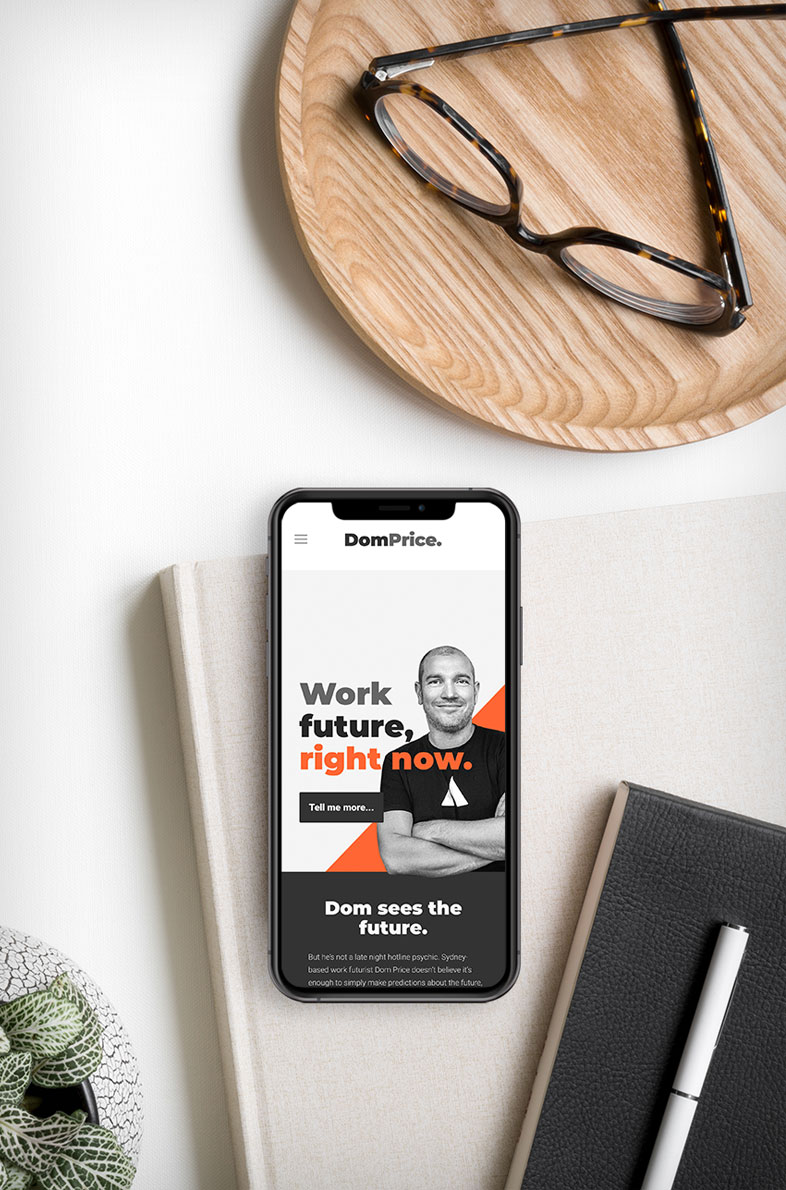 Dom Price Futurist website design by Alphabetsy