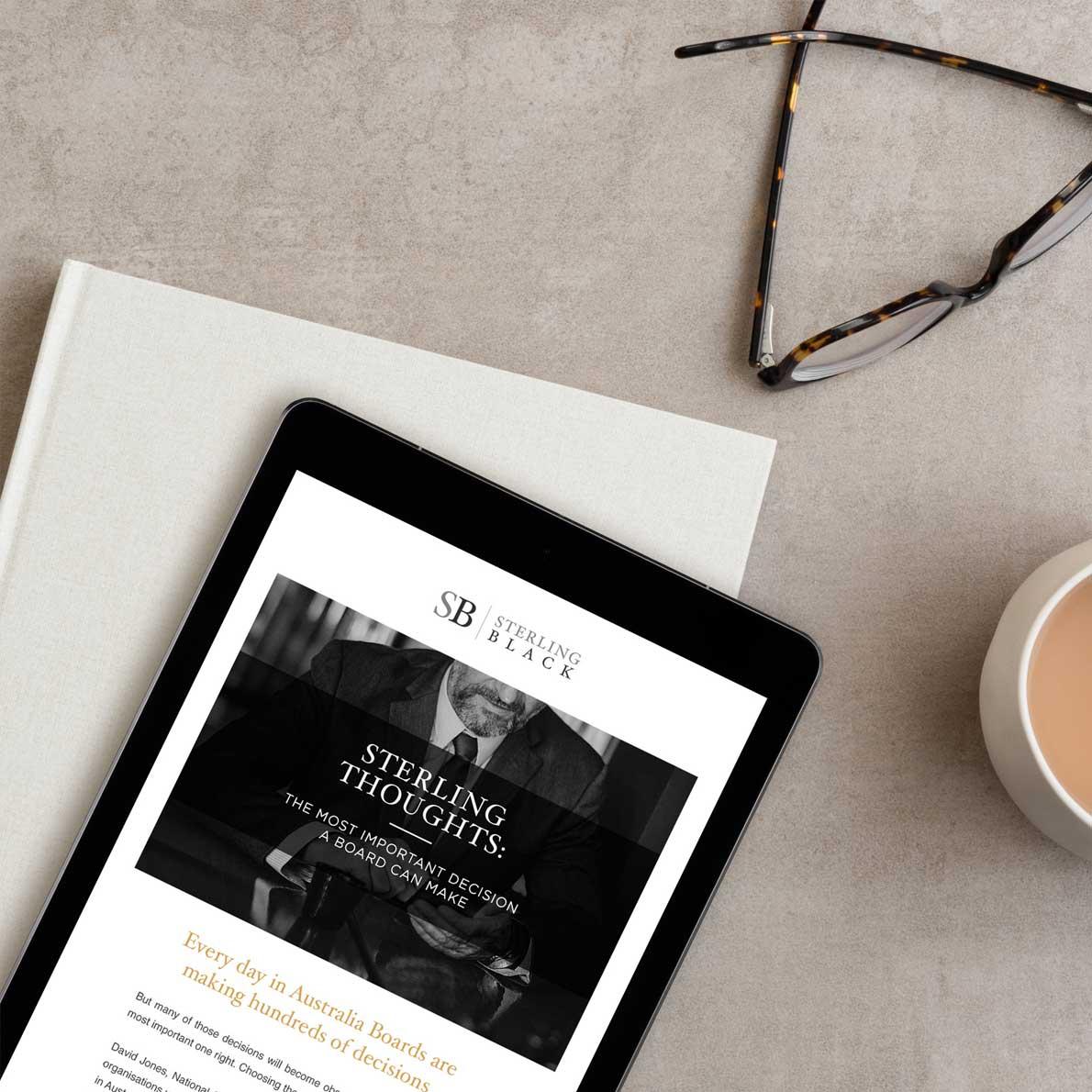 Sterling Black website design by Alphabetsy